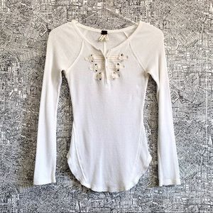 We the Free Embellished Long Sleeve Thermal Tee